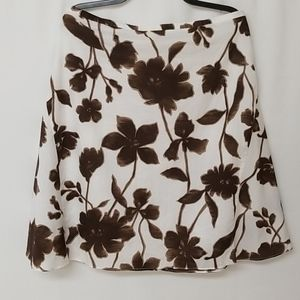 White And Brown Floral Skirt